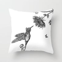 humming bird and flower cushion
