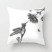 humming bird and flower cushion