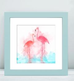 framed flamingos
