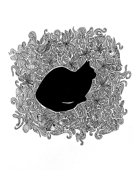 black cat zentangle