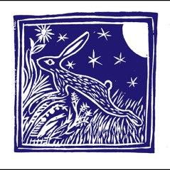 Lino print of hare at night