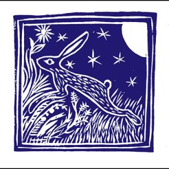 Lino print of hare at night