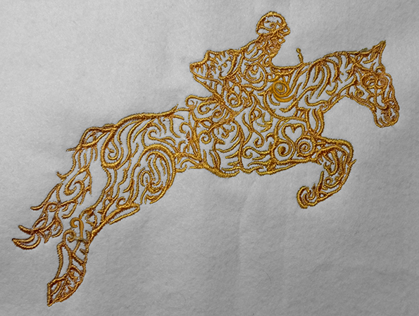 a Horse Rider Jumping in gold Embroidery