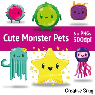 cute pet monster artworks from Etsy