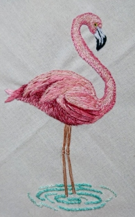 embroidered flamingo